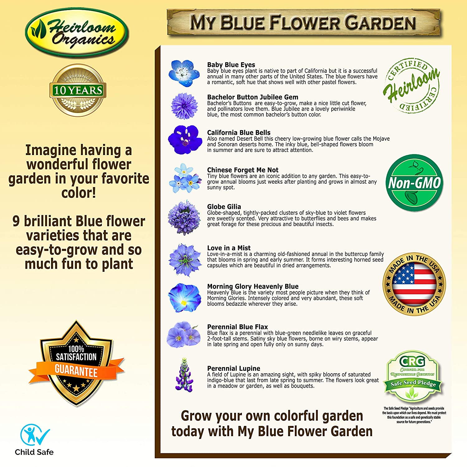 Amazon com : My Blue Flower Garden Seed Collection