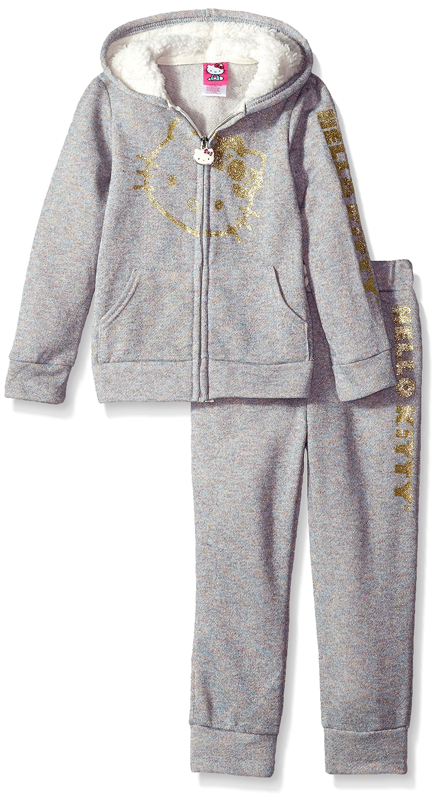 Hello Kitty Big Girls' 2 Piece Hooded Fleece Active Set, Gray, 10