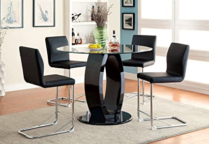 Furniture Of America Quezon 5 Piece Round Glass Top Pedestal Pub Dining Set,  Black