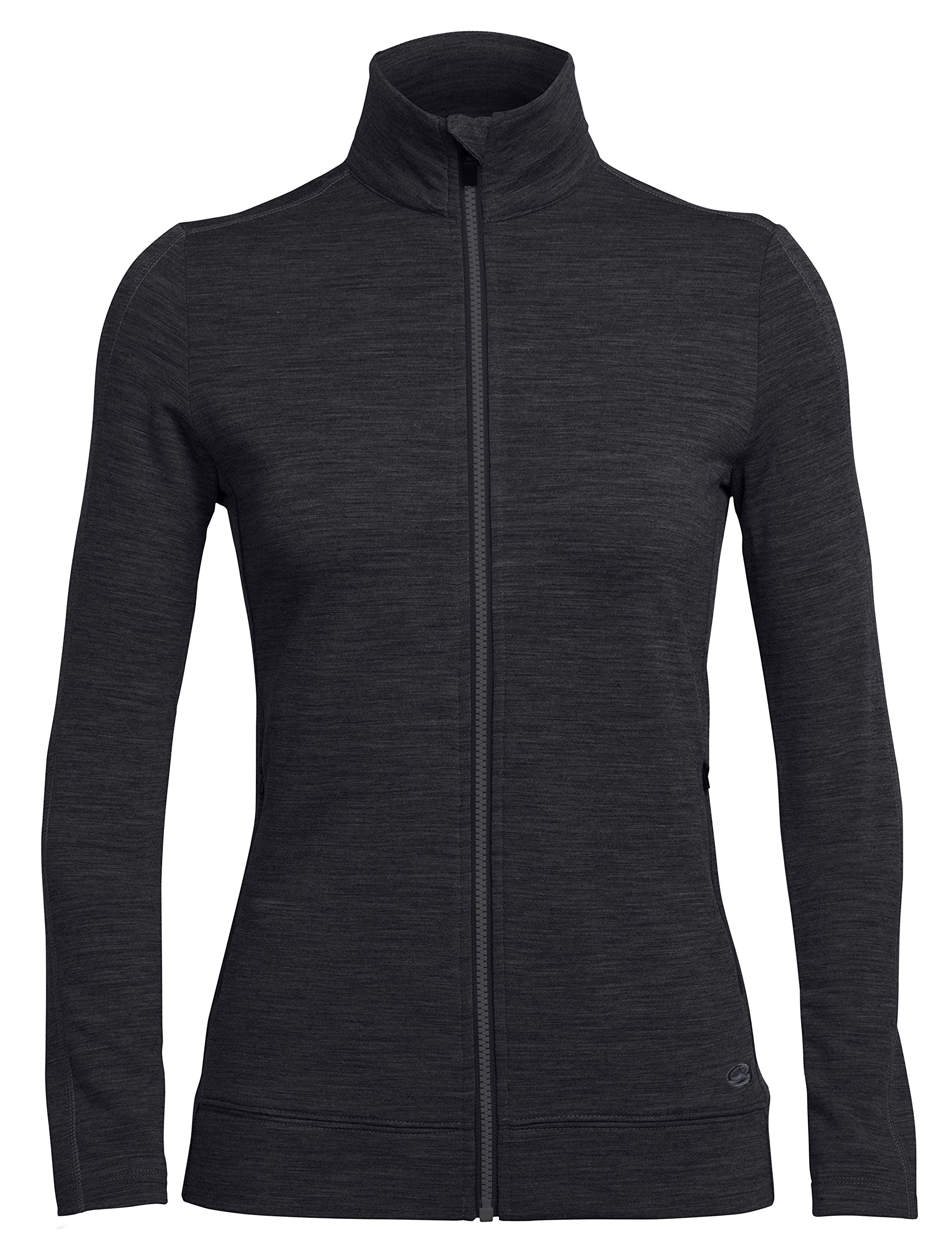 Icebreaker Merino Women's Dia Long Sleeve Zip Sweater, Black, Medium