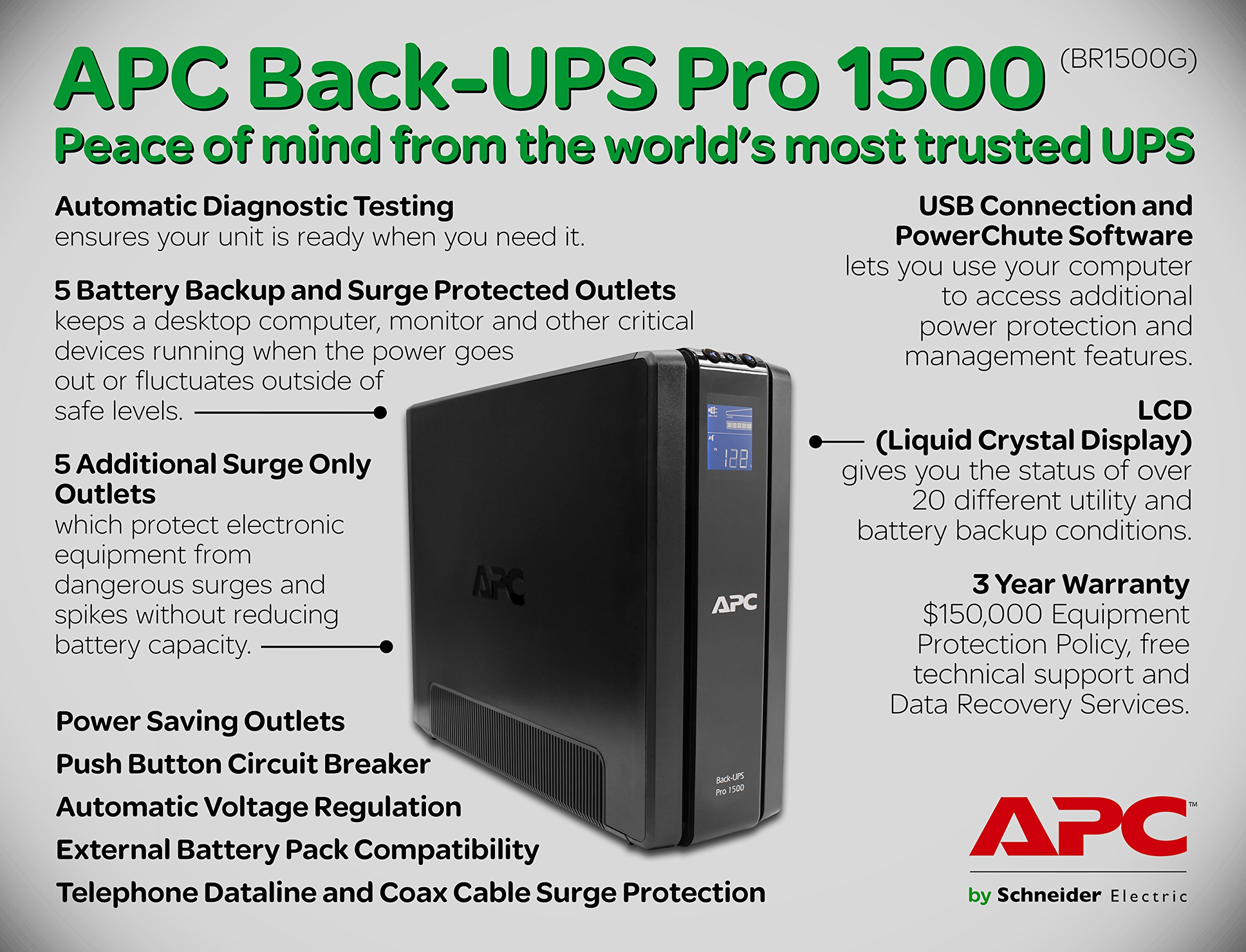 APC Back-UPS Pro 1500VA UPS Battery Backup & Surge Protector (BR1500G) by APC
