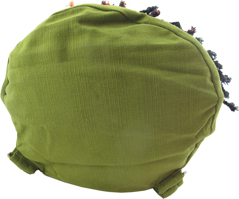 Boho Bag Big Striped Drawstring Backpack Summer Backpack Gray Green White Cinch Sack Ethnic Bag
