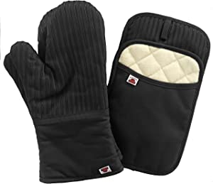 Big Red House Oven Mitts and Pot Holders Sets, with The Heat Resistance of Silicone and Flexibility of Cotton, Recycled Cotton Infill, Terrycloth Lining, 480 F Heat Resistant Pair Black