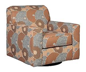 Signature Design by Ashley - Benissa Mid-Century Modern Swivel Accent Chair, Mango