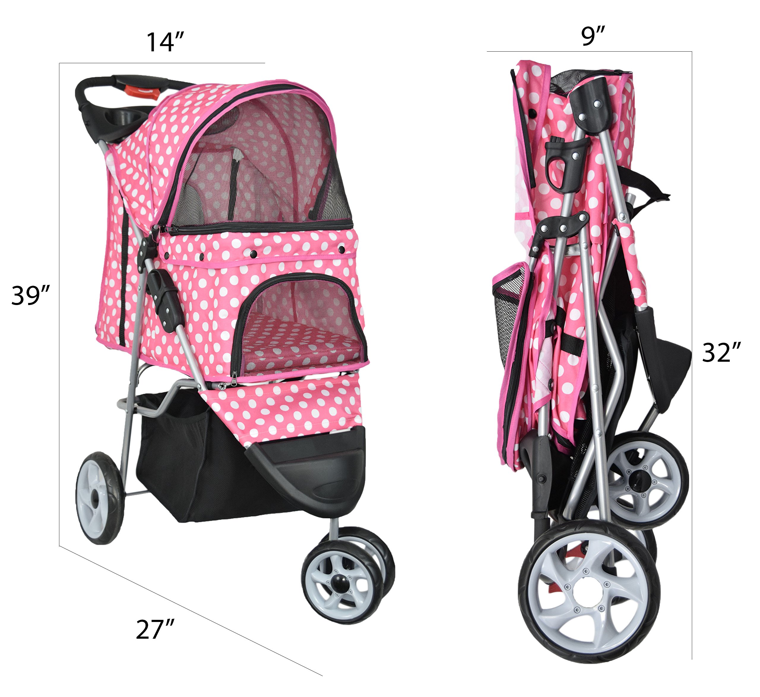 VIVO Three Wheel Pet Stroller, for Cat, Dog and More, Foldable Carrier Strolling Cart, Multiple Colors (Pink & White Polka Dot) by VIVO (Image #2)