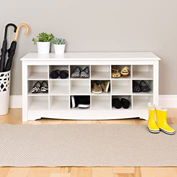 High Quality White Shoe Storage Cubbie Bench