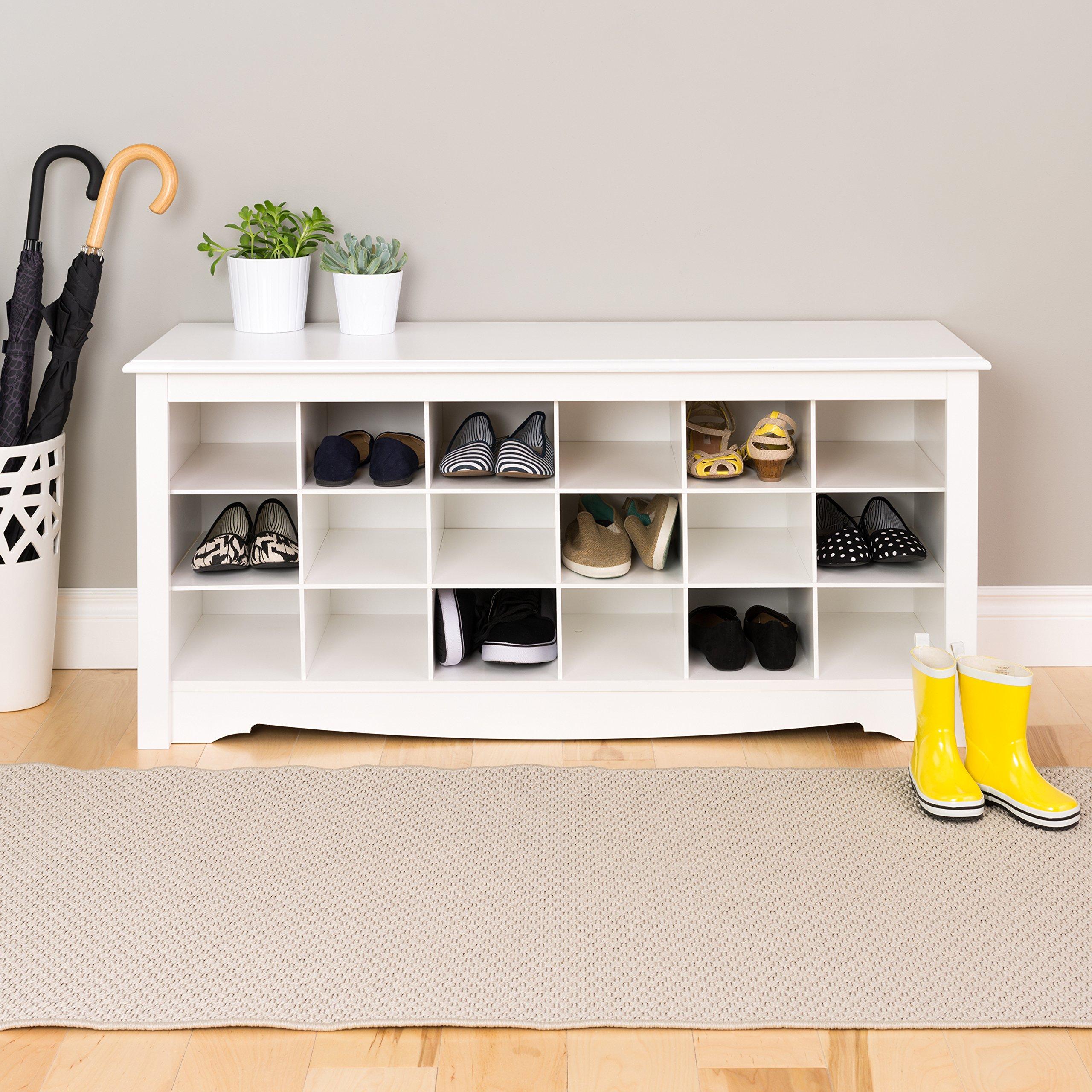 White Shoe Storage Cubbie Bench by Prepac