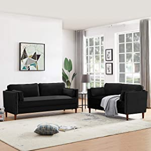 GAOPAN 2-Piece Sectional Set, Modern Velvet Upholstered Button Couch for Living Room, 4 Seats Sofas/Loveseat with Classical Rivets and Tufted Back Cushions, Jet Black