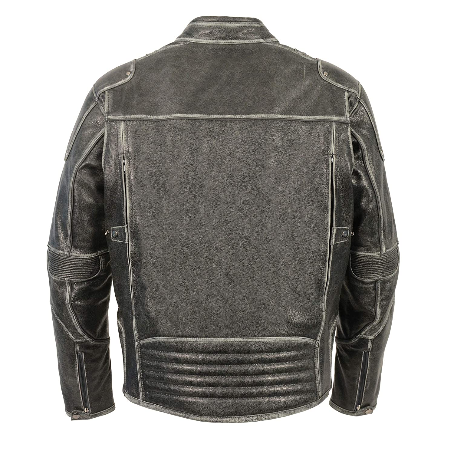 724fc8e10 Men's Vintage Distressed Grey Leather Scooter Jacket w/Heavy Venting  Throughout (Large)