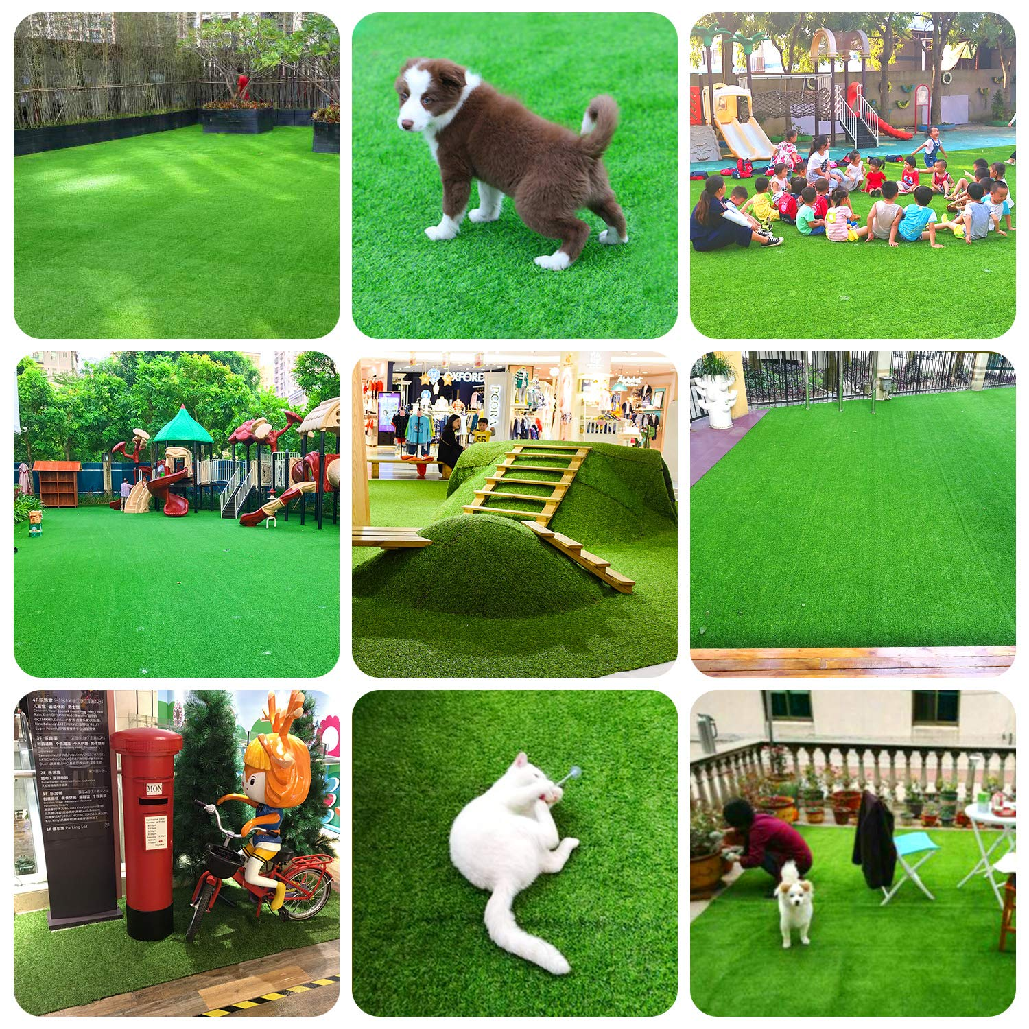 RoundLove Artificial Turf Lawn Fake Grass Indoor Outdoor Landscape Pet Dog Area (40X80 in) by RoundLove (Image #10)