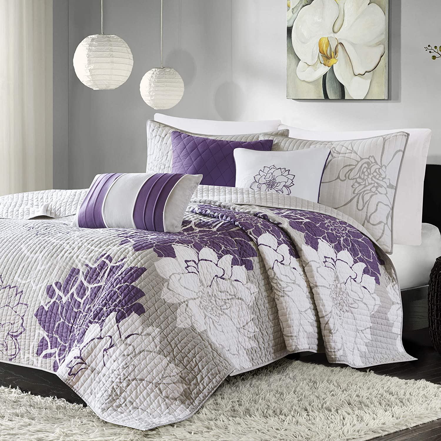 Madison Park Lola Cal King Size Set-Purple, Grey, Floral, Flowers – 6 Piece Sateen, Cotton Poly Crossweave Bed Quilted Coverlet, King King
