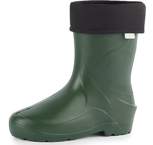 Ladeheid Botas de Goma Forradas Ligeras EVA Termo Zapatos de Seguridad Mujer PA18002 (Oliva,
