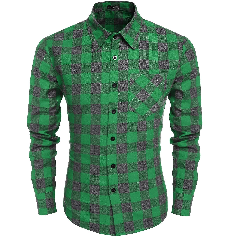 TALLA S. Coofandy Camisa Hombre Manga Larga a Cuadros Multicolores Botón Bolsillo Casual