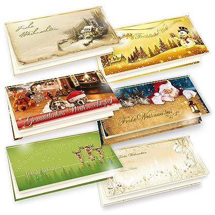 Einlegeblätter Für Weihnachtskarten.Tatmotive Premium Weihnachtskarten 6 Er Set 6 X 1 Klappkarten Din Lang 235g Qm Einlegeblatt 90g Qm Umschlag