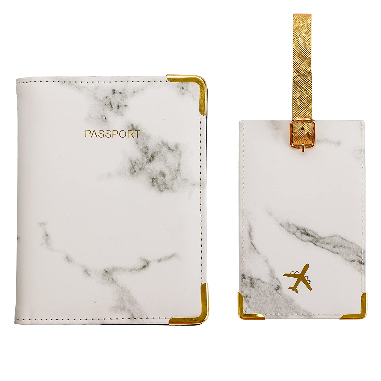 White Marble Passport Holder RFID Blocking Cover Wallet & Luggage tag, Travel Accessories Organizer