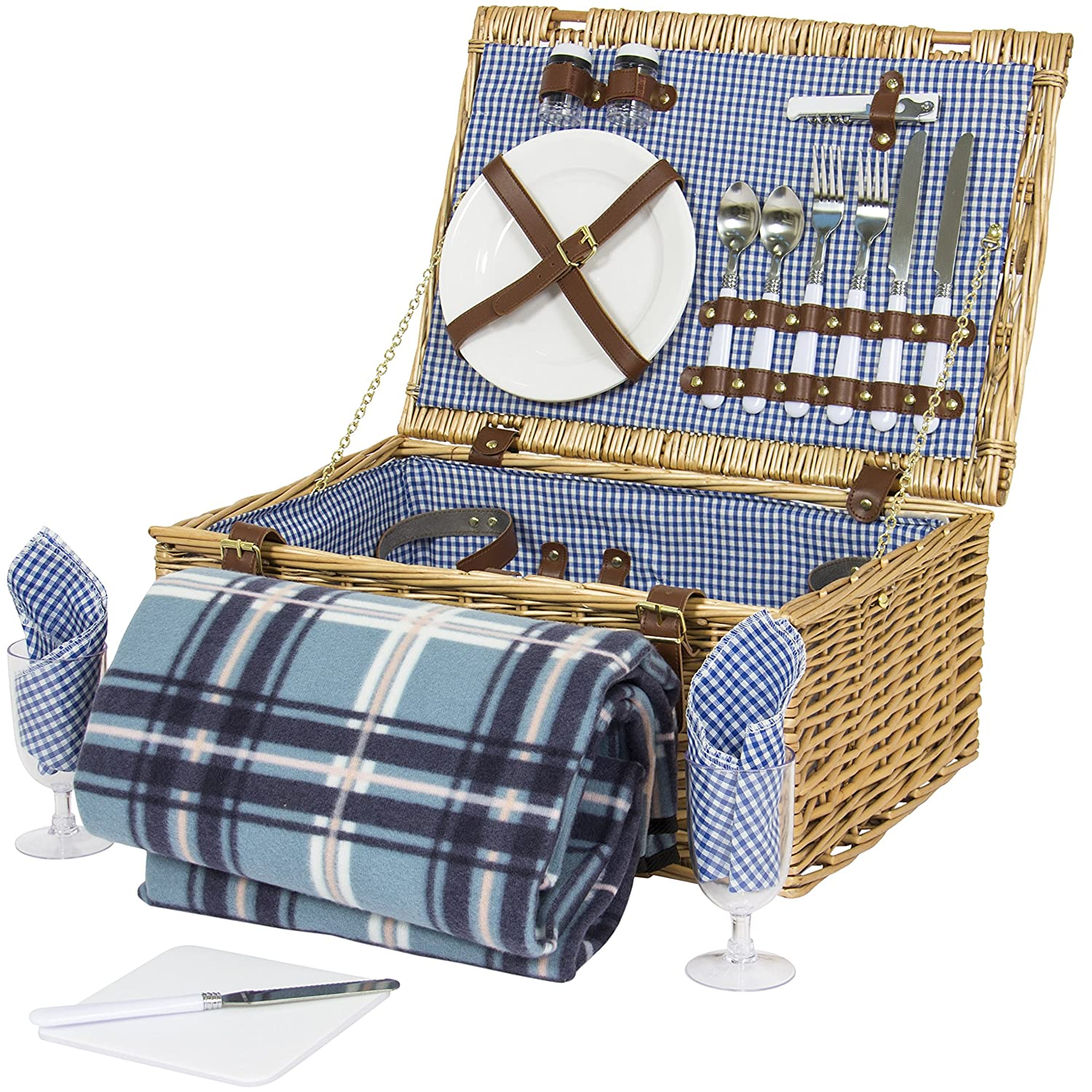 Amazon.com : Best Choice Products 2 Person Wicker Picnic Basket W/ Cutlery,  Plates, Glasses, Tableware U0026 Blanket : Garden U0026 Outdoor