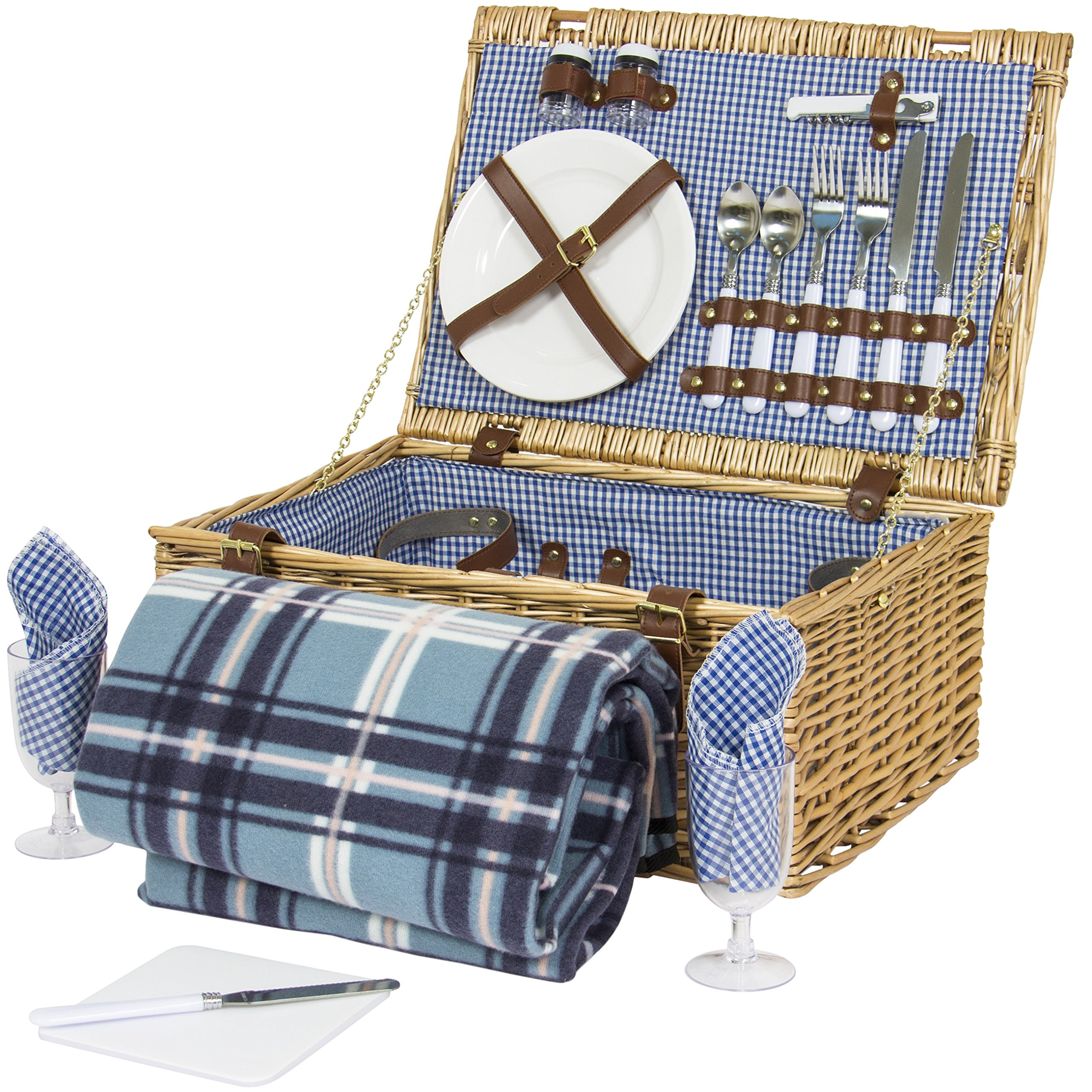 Best Choice Products 2 Person Wicker Picnic Basket w/Cutlery, Plates, 2 Wine Glasses, Tableware, Fleece Blanket - Brown by Best Choice Products (Image #1)