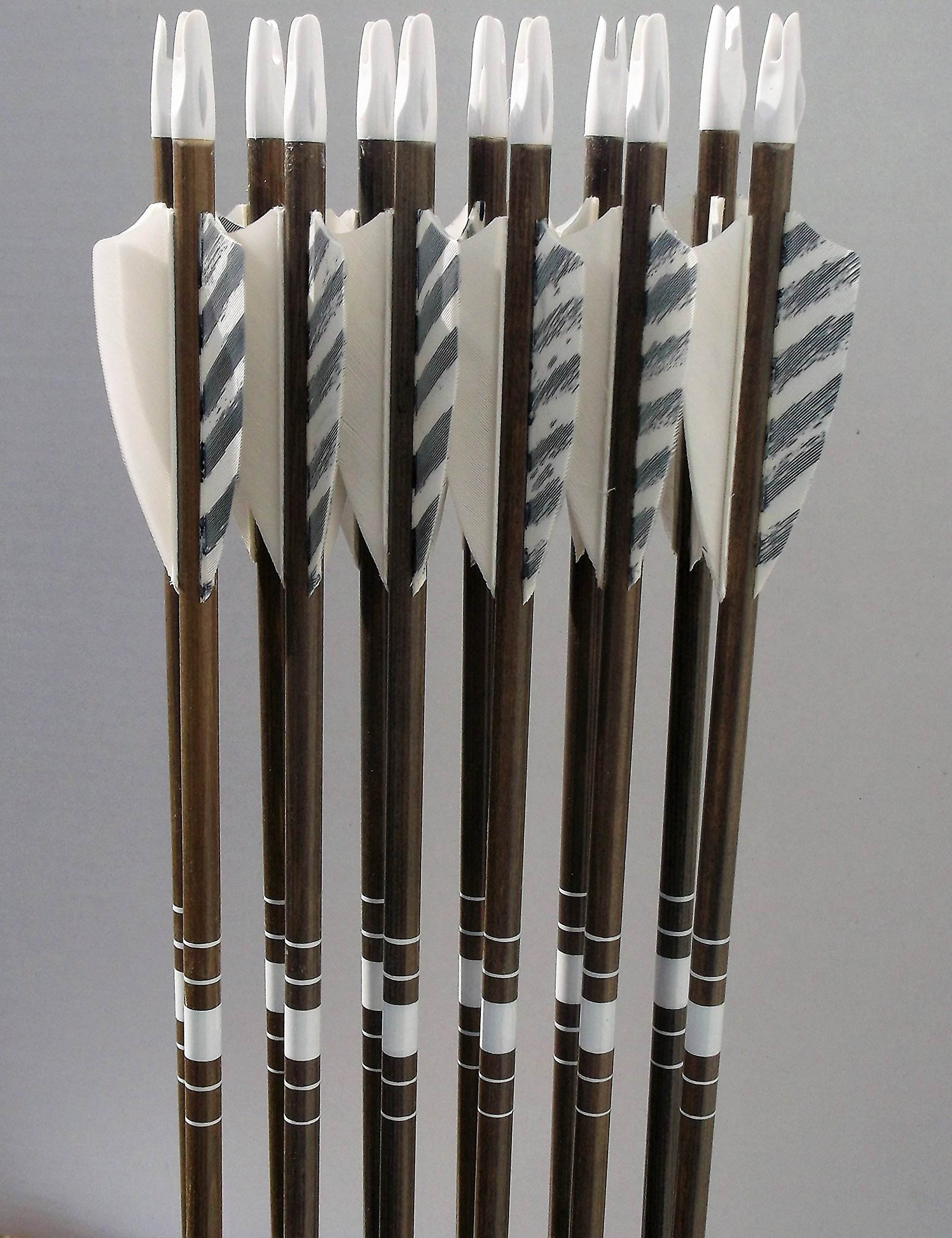 No Frontiers Archery Youth Cedar Arrows White/Barred Feathers (12) by No Frontiers Archery