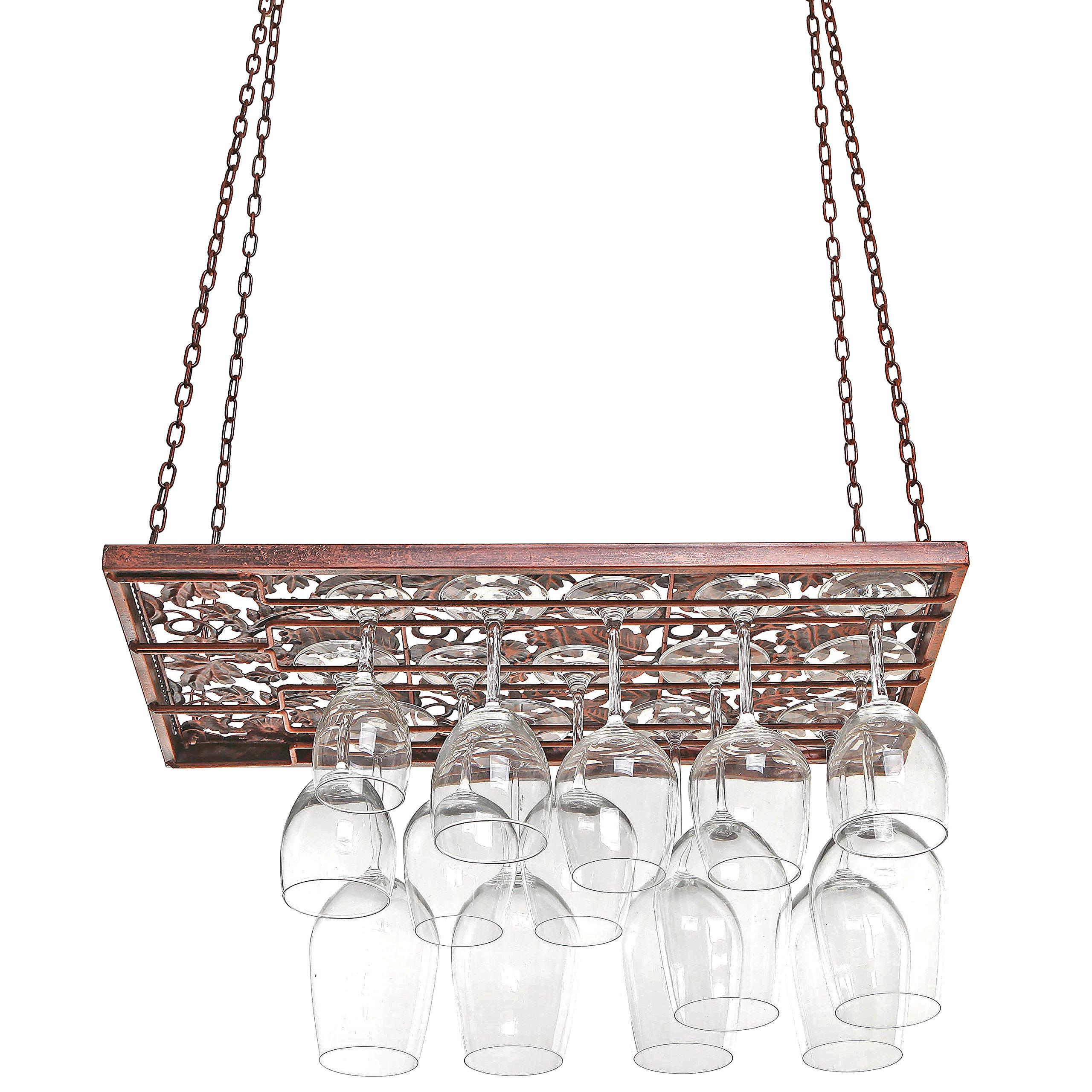 Vineyard Country Rustic Bronze Metal Ceiling Mounted Hanging Stemware Wine Glass Hanger Organizer Rack by MyGift (Image #3)