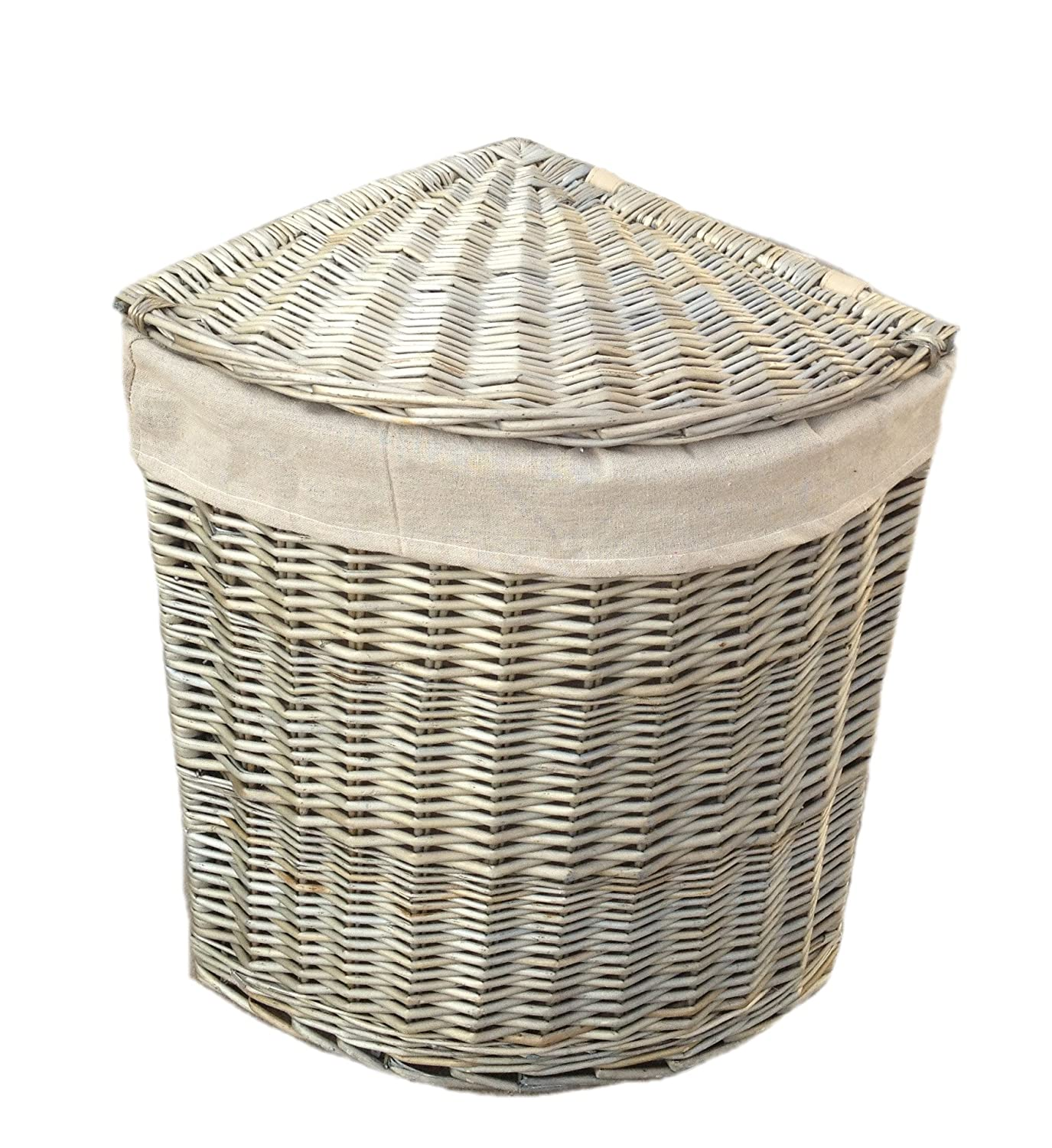 Grey Antique Wash Wicker Laundry / Linen / Washing Corner Basket