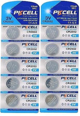 4e5b160d5154c9 PKCELL Lot de 10 piles bouton lithium CR2032 3 V 210 mAh (2 plaquettes  alvéolées