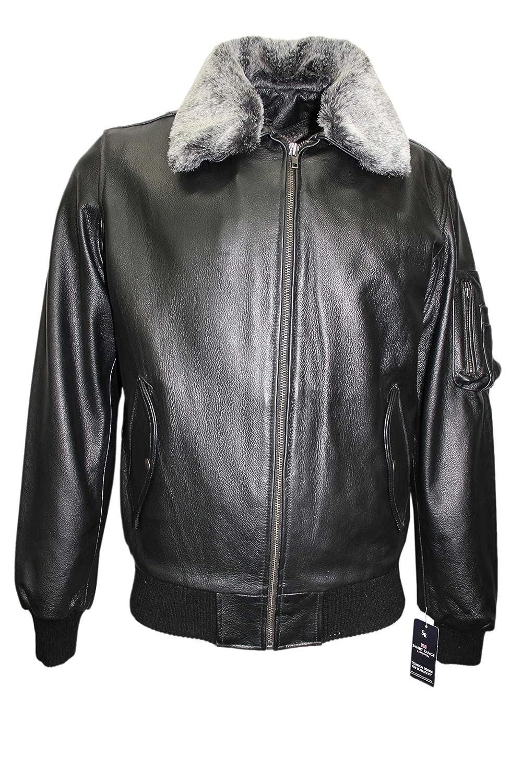 'FUR PILOT' Men's BLACK ANILINE Cowhide Bomber Air Force Real Leather Jacket