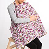 MOMSFAVOUR Nursing Cover - Baby Best Breastfeeding - Infant Feeding Cover - Full Coverage, 100% Breathable Soft Cotton, Stylish and Elegant (Red, Big)