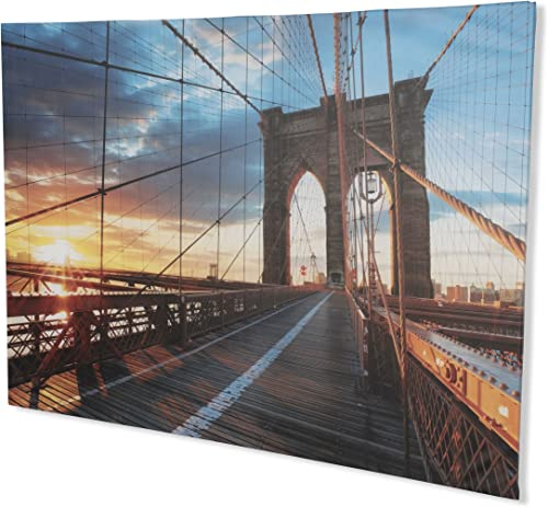 brightmaison City Architecture Collection Extra Large Canvas Wall Photo Art Brooklyn Bridge Sunset