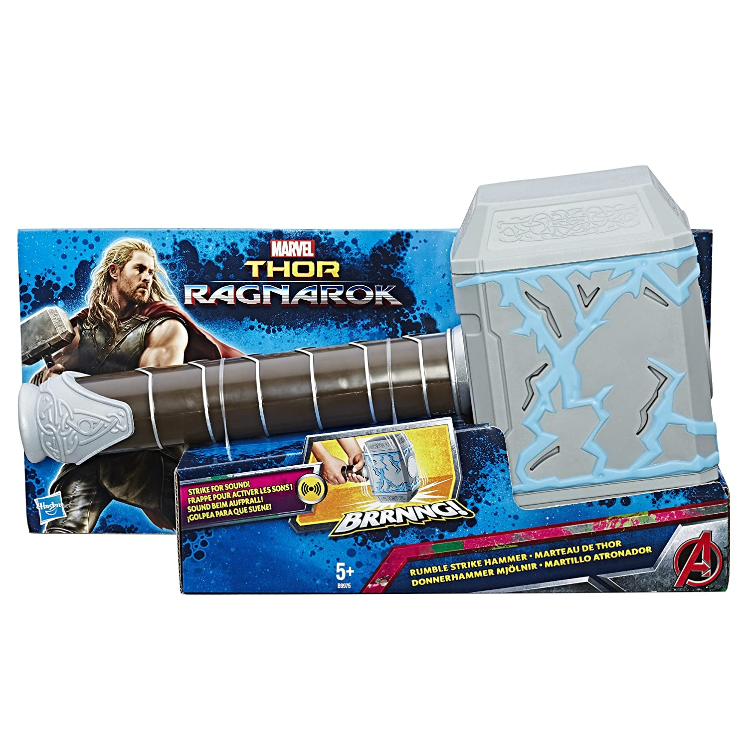 Marvel B9975EU4 Thor Ragnarok Rumble Strike Hammer Figure, Black Hasbro