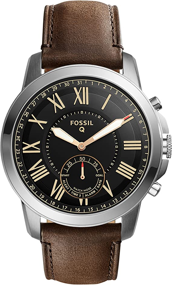 Fossil Mens Silvertone Leather Watch