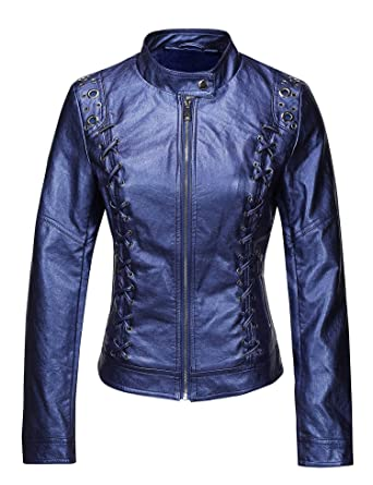 Bellivera Womens Faux Leather Short Jacket