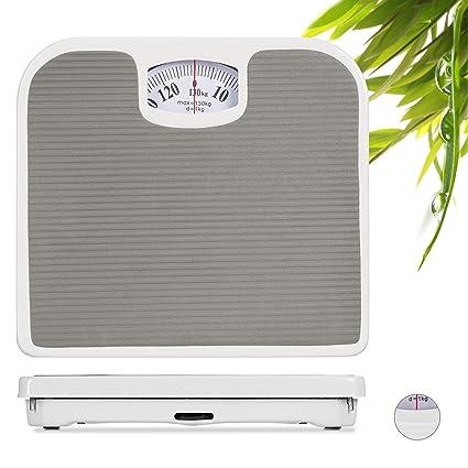 Relaxdays Peso Analógico Baño hasta 130 kg hasta, Gris Oscuro 26,5 X 24