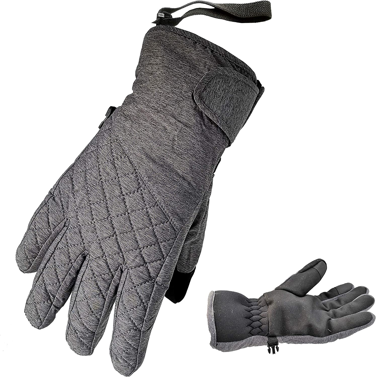 HIGHCAMP Winter Ski Snow Mittens for Women - Warm Waterproof Gloves with Drawstring for Cold Weather - Snowboarding, Skiing, Shoveling & More Outdoor Sports : Clothing
