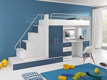Kinderzimmer Mit Etagenbett : Furnistad kinderzimmer komplett sun kinder hochbett mit treppe