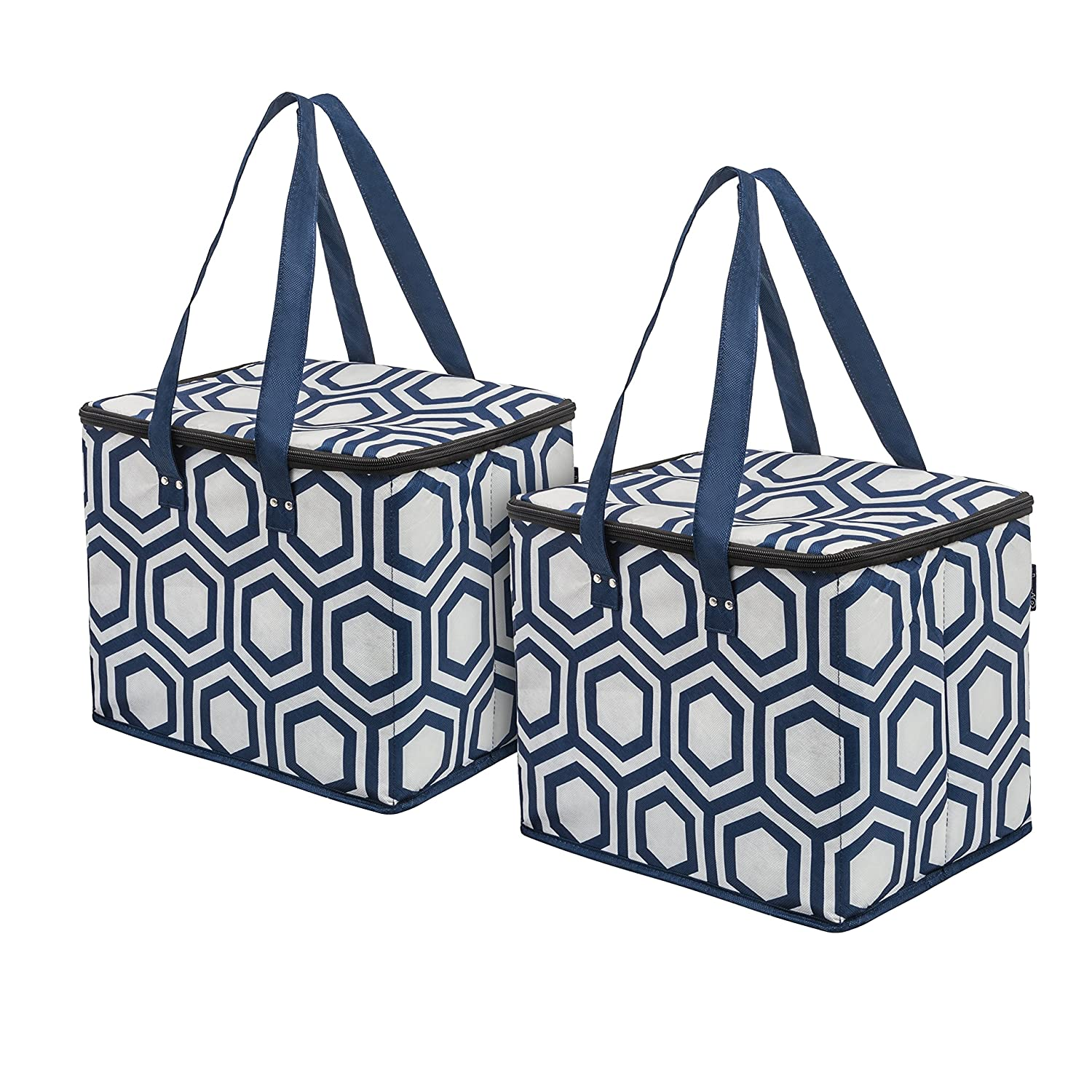 Planet E Reusable Grocery Shopping Bags – Large折りたたみボックスwith Reinforced Bottomsリサイクルプラスチック製(パックof 3 ) ブルー H1289_CooS2_AST B074QTJMBW Navy Hex Navy Hex
