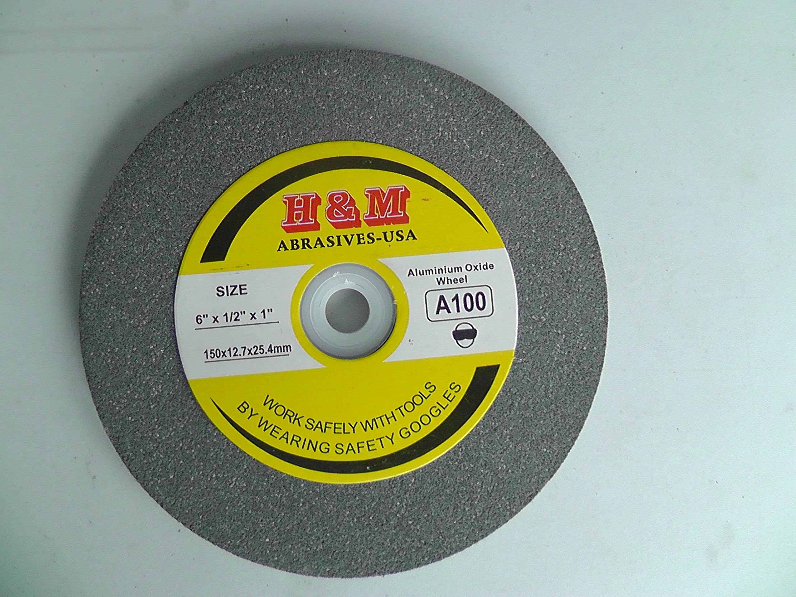 6'' x 1/2'' BENCH GRINDING WHEEL 60 grit Vitrified 1'' Arbor includes 3/4'' 5/8'' 1/2'' Bushing