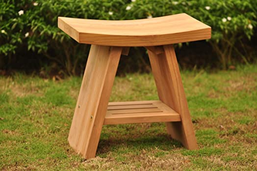 Grade-A Teak Wood Asian Bath Shower Bench Stool Side End Table (18u0026quot; : teak asian stool - islam-shia.org