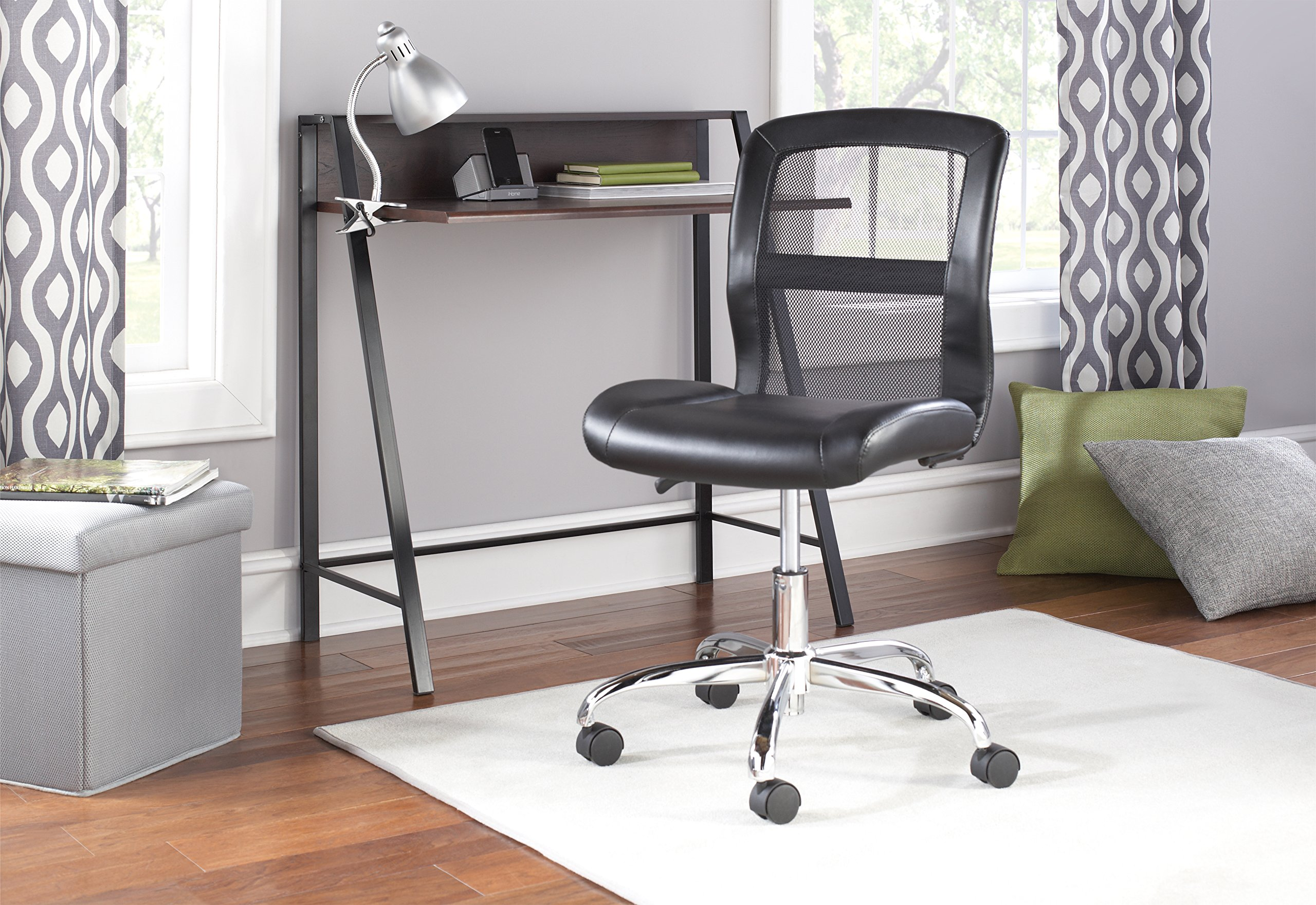 Comfortable Vinyl and Mesh Task Chair with Durable Metal Base, One-Touch Pneumatic Height Adjustment, Padded Seat and Back for Comfort + Expert Home Guide by Love US