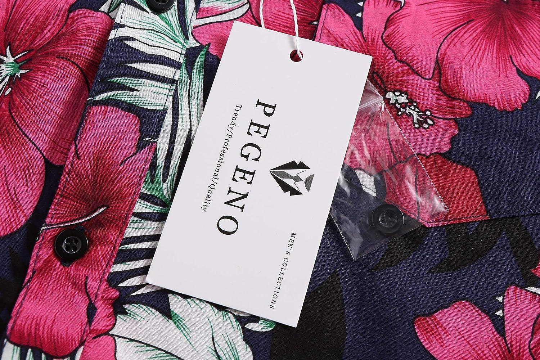 PEGENO Mens Flower Casual Button Down Short Sleeve Hawaiian Shirt