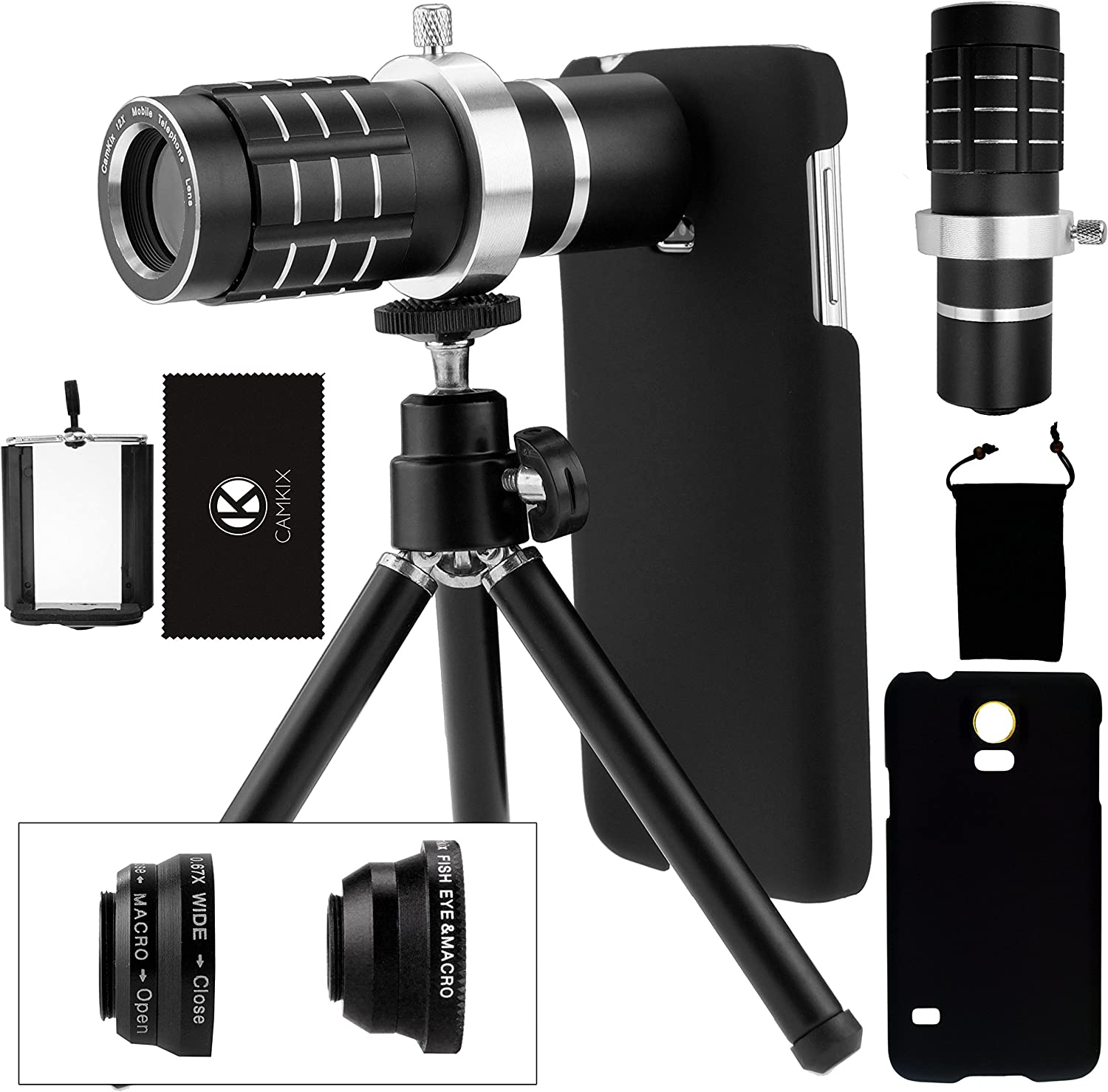 CamKix Camera Lens Kit Compatible with Samsung Galaxy S5 Including a 12x Telephoto Lens/Fisheye Lens / 2 in 1 Macro Lens/Wide Angle Lens/Tripod/Hard Case/Phone Bag