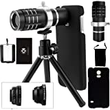 Samsung Galaxy S5 Camera Lens Kit including a 12x Telephoto Lens / Fisheye Lens / 2 in 1 Macro Lens / Wide Angle Lens / Mini Tripod / Hard Case for S5 / Phone Bag / CamKix Microfiber Cleaning Cloth