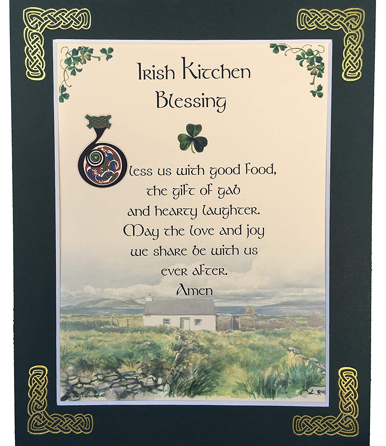 Irish Kitchen Blessing - 8x10 Home Blessing with Green Matting