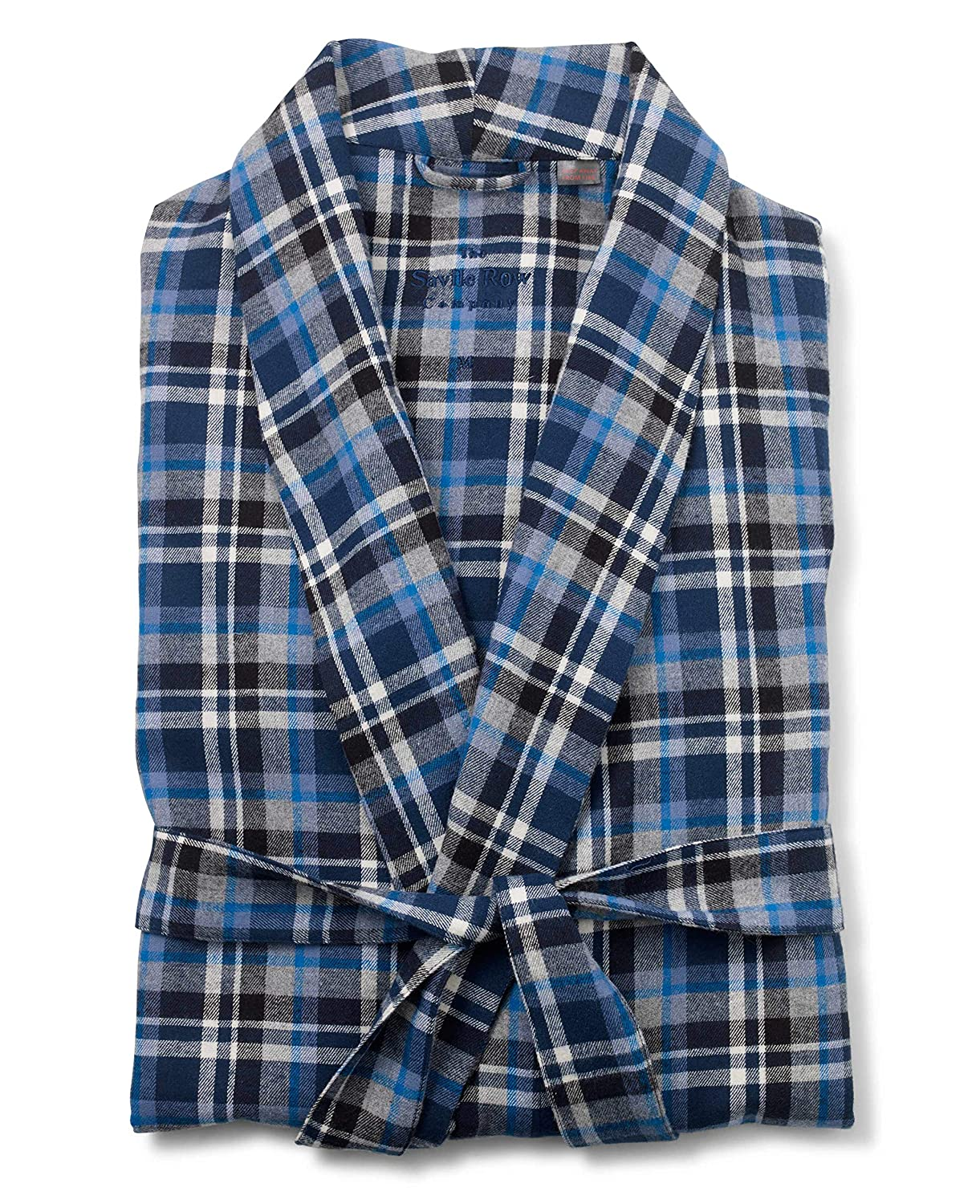 Savile Row Company Men's Navy Blue White Brushed Cotton Check Dressing Gown The Savile Row Company London