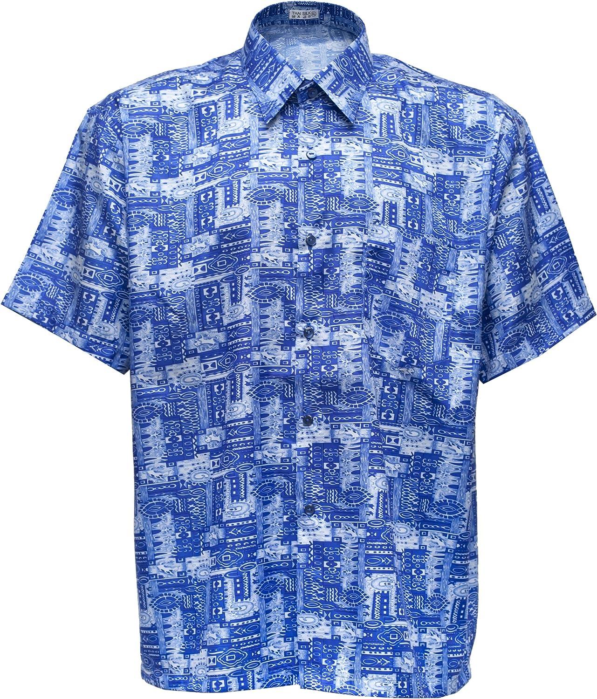 Camisa de hombre de manga corta de seda tailandesa estampado Paisley azul, azul, mediano: Amazon.es: Hogar