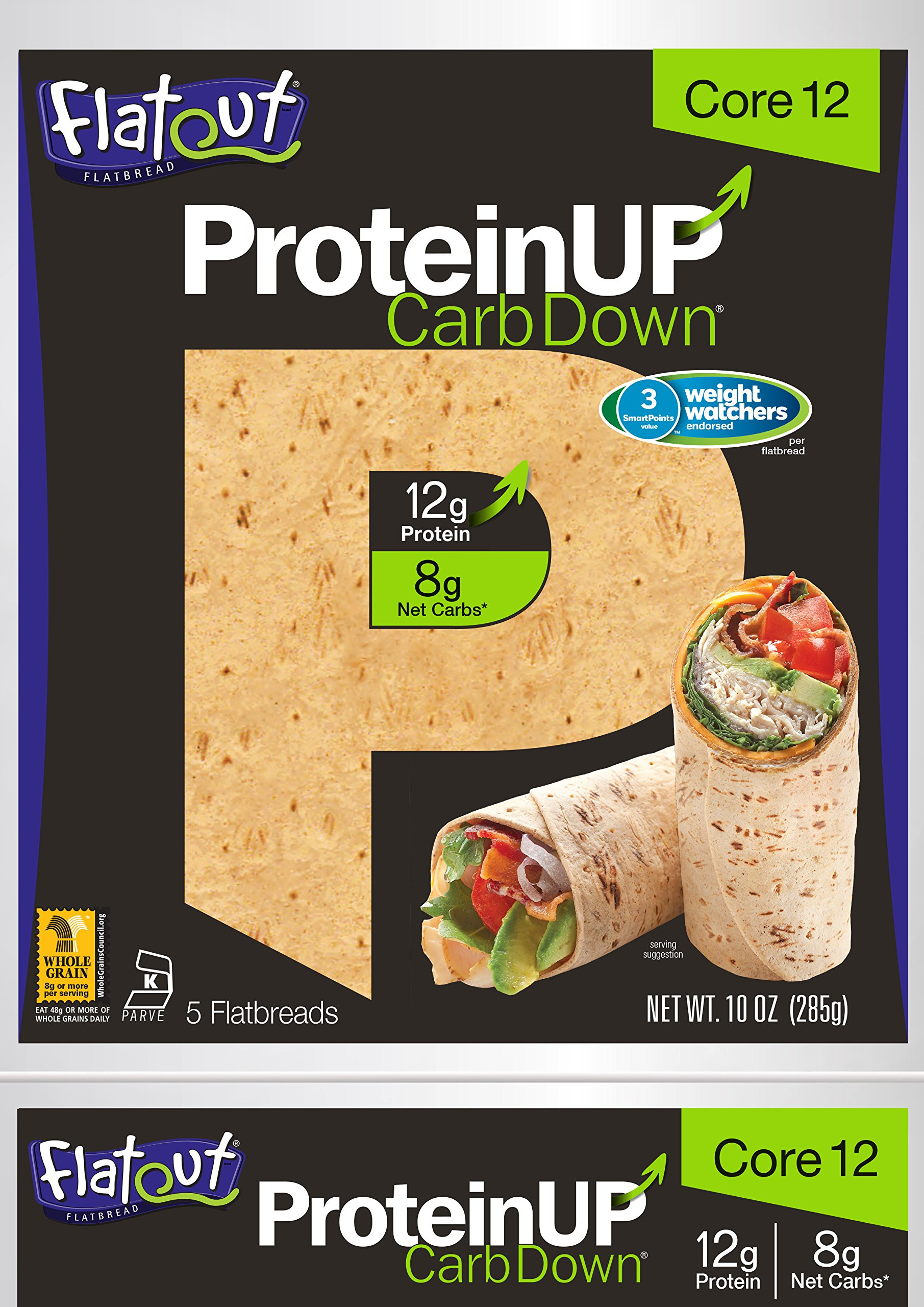 Flatout ProteinUP Flatbread Core 12 - 5 Wraps (2 Pack)