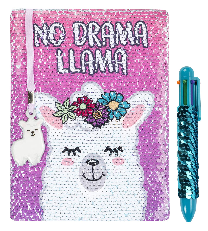 tama/ño A5 color Dream Believe Achieve con bol/ígrafo multicolor para ni/ñas y ni/ños Agenda reversible con lentejuelas de FRINGOO viene con marcap/áginas y dise/ño de unicornio 80 p/áginas