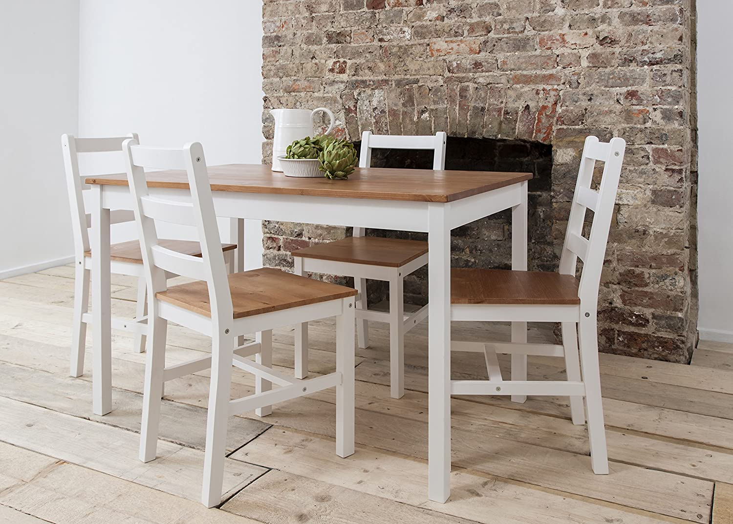 Dining Table U0026 4 Chairs Annika In White And Natural Pine (Natural Pine U0026  White): Amazon.co.uk: Kitchen U0026 Home