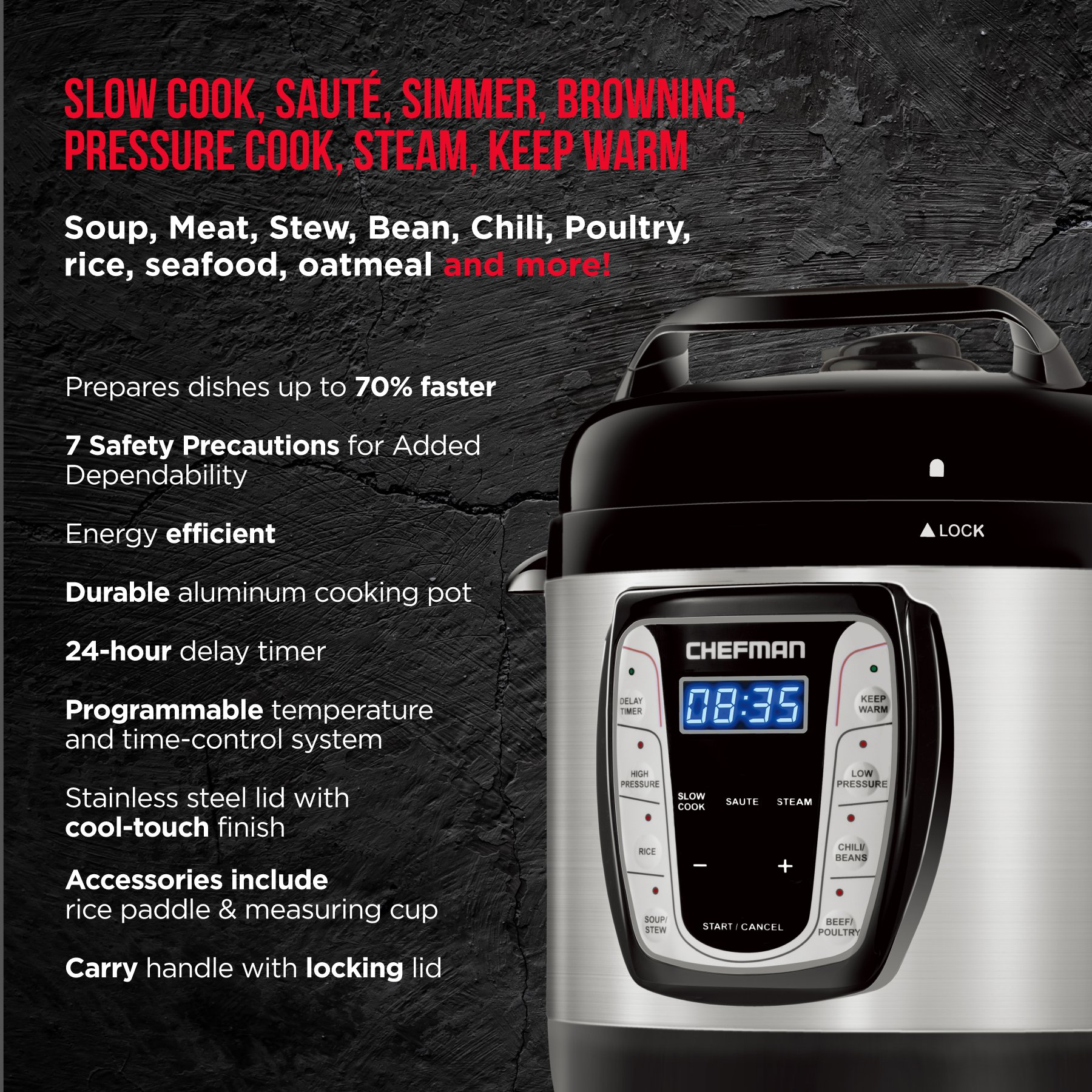 Chefman 2.5 Qt. Electric Pressure Programmable Multicooker, Prepare Dishes in an Instant, Aluminum Pot Multifunctional Slow, Rice Cooker/Steamer, Sauté, Soup Maker by Chefman (Image #3)