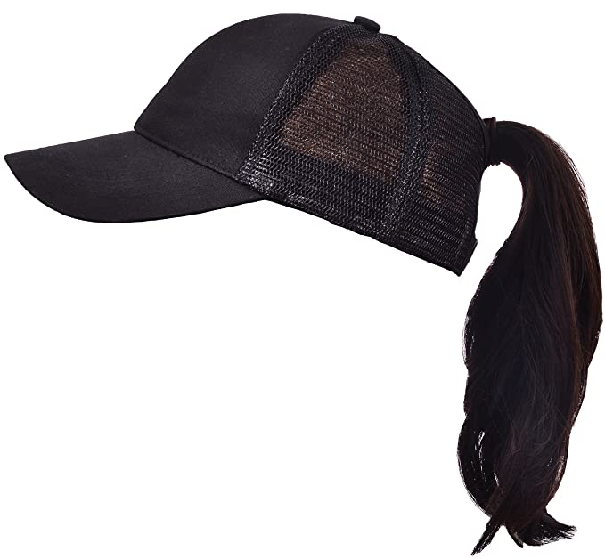 99b72c39 Beurlike Ponytail Baseball Cap High Bun Ponycap Adjustable Mesh Trucker Hats  (Black)