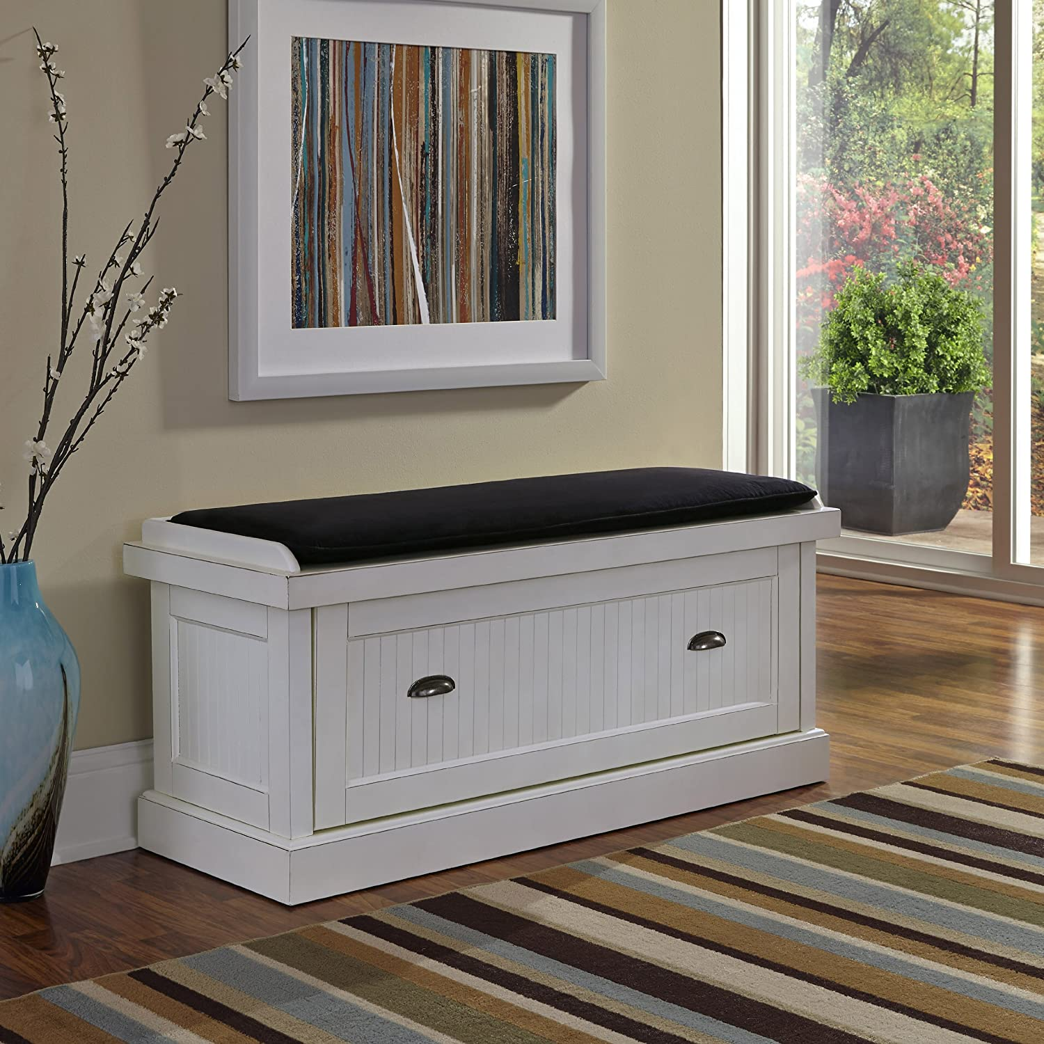 amazoncom home styles nantucket upholstered bench distressed white kitchen u0026 dining